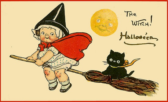 Campbell soup kid halloween postcard