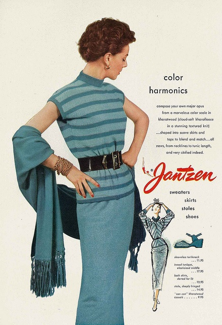 Color harmonics...sweaters, skirts, stoles, shoes - all from Jantzen. #vintage #fashion #1950s #ad