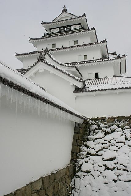 Tsuruga-jo Castle ( Aizu-Wakamatsu Castle ) in snow, Fukushima, Japan