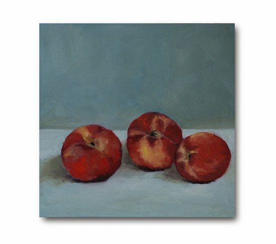 Summer Peaches Still Life Original Oil by WhiteBarnStudios on Etsy, $185.00