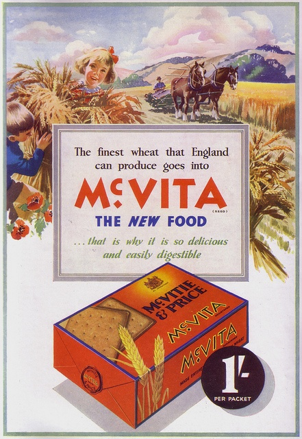 A beautifully illustrated ad from 1936 for McVITA biscuits. #food #biscuits #crackers #1930s #vintage #ad #farming