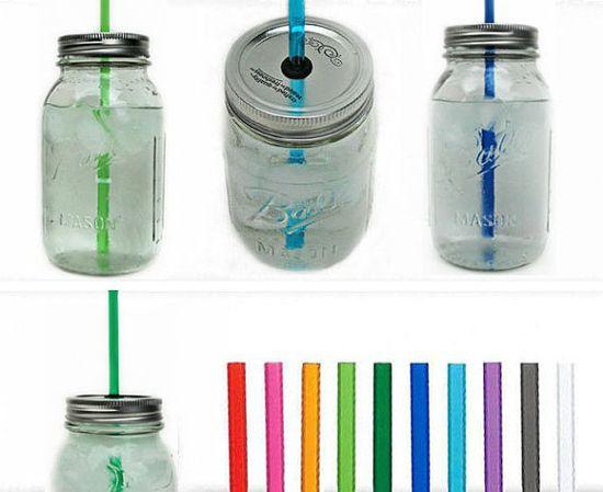 Five Mason Jar To-Go Tumbler Lids - Reusable Canning Jar Tops and Straws via Etsy.