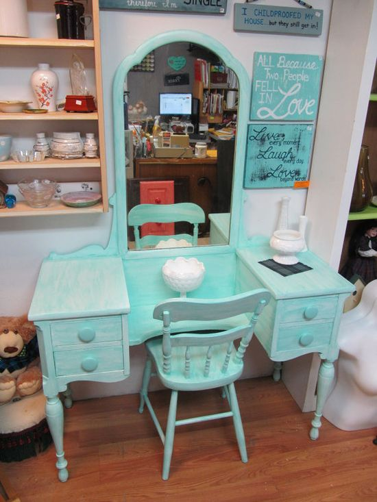 Circa 20's Antique Turquoise Vanity & Chair Salvaged Shabby Chic Distressed Refinished WHAGN