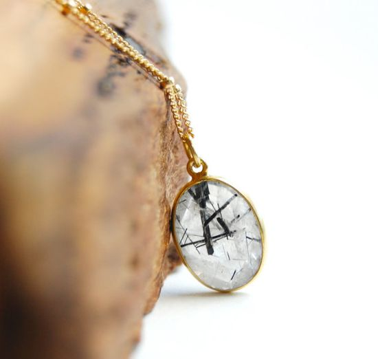 Kau'i necklace  black rutilated quartz pendant by kealohajewelry