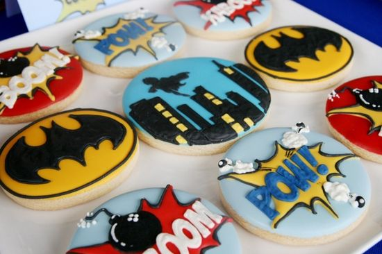 Cool cookies at a Superhero Party.  See more party ideas at CatchMyParty.com.  #superheropartyideas