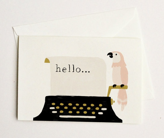 quill and fox parrot and typewriter cards