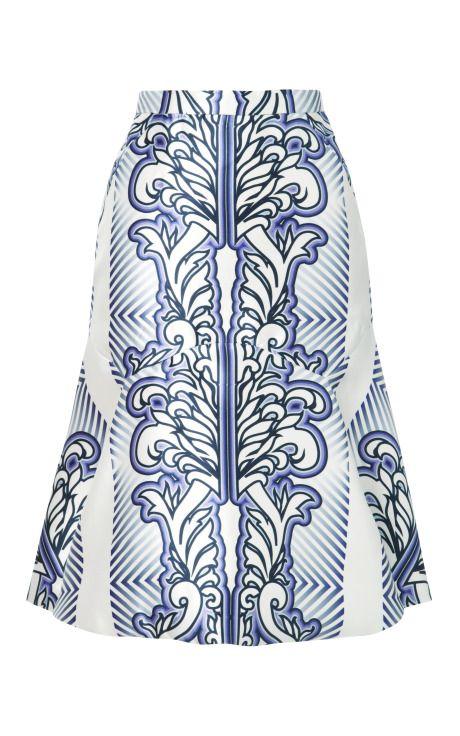 Baroque Print Skirt by Bibhu Mohapatra for Preorder on Moda Operandi