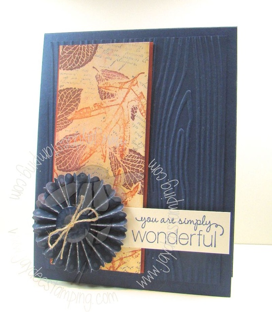 Wood embossing folder w/ leaves = Perfection.