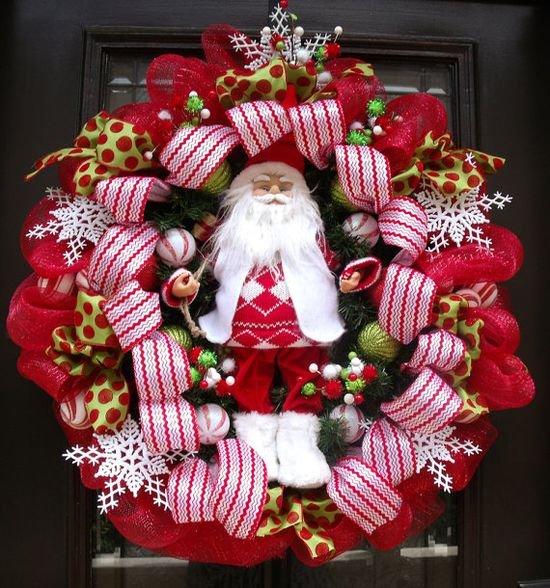 Santa Wreath, Christmas Wreaths, Christmas Door Wreath, Christmas Deco Mesh Wreaths