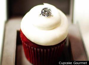 Engagement ring cupcake
