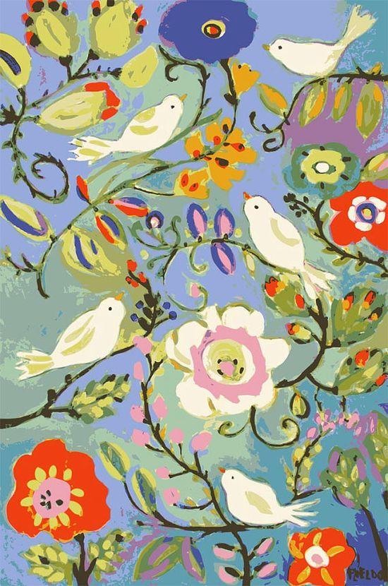 illustration, animal, bird, floral, vine, flower, pattern, naive. Karen Fields