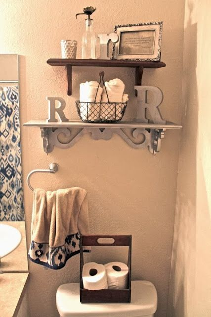 Bathroom Design - Thrift Store Shelves!