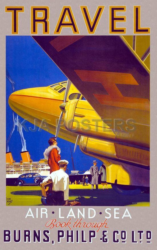 Vintage Posters - Travel Air Land Sea