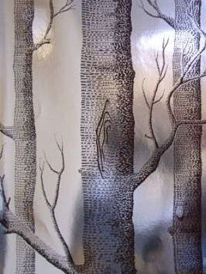 Cole & Sons Wallpaper Woods Chocolate/Silver $133.75 per 11 yard roll #interiors #decor #woodswallpaper #metalliclook