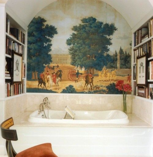 I must have such a scene in my abode because bathroom murals really do make soaking more luxurious