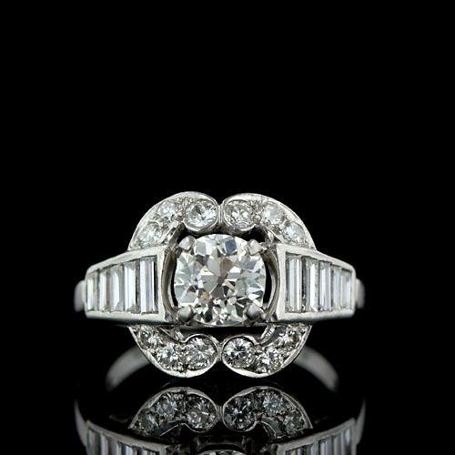 1.10 ct. Center Art Deco Diamond Ring in Platinum