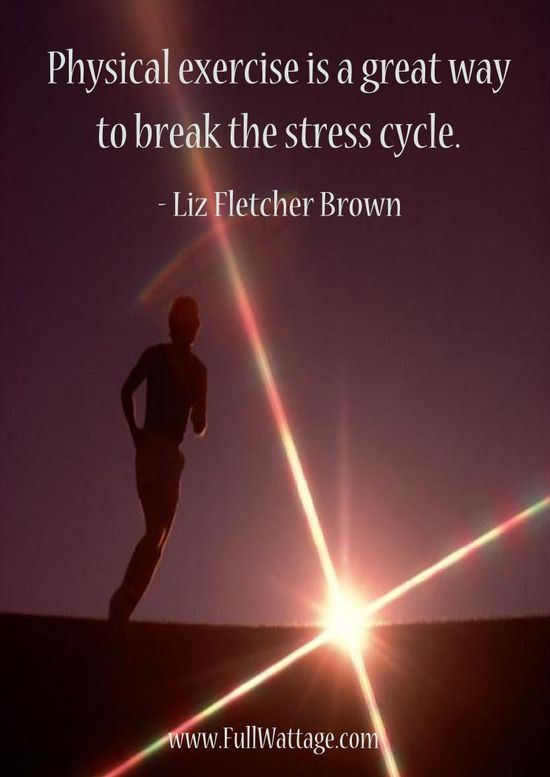 Physical exercise is a great way to break the stress cycle.
