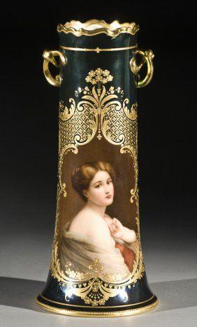 Royal Vienna Art Nouveau Portrait Vase
