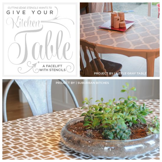 Cutting Edge Stencils shares painted and stenciled tables. www.cuttingedgest... #cuttingedgestencils #stencils #stenciling #furniture #diy #table #kitchen