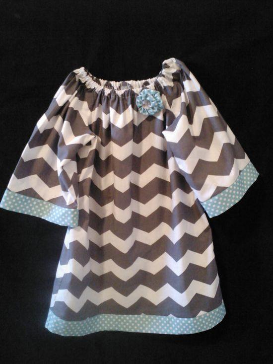 Boutique Handmade Gray Chevron stripe Peasant Dress Aqua Turquoise Polka dot accents girls 12 months to size 8, $40.00