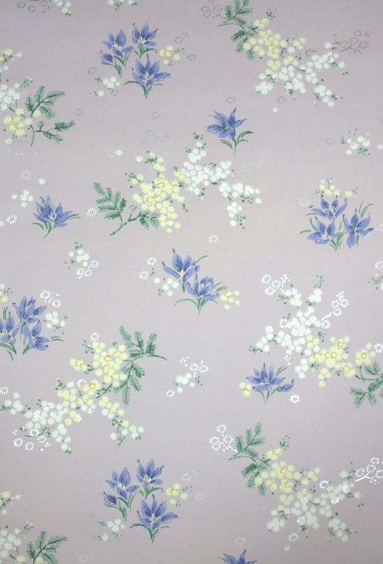 Vintage Wallpaper floral, lavender and yellow flowers