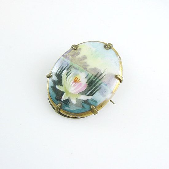 Edwardian Hand Painted Porcelain Water Lily Pin by bohemiantrading