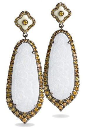 Bochic White Jade and Yellow Diamond Earrings