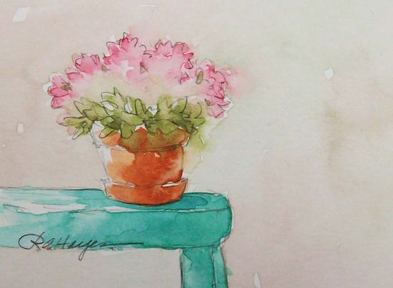 Pink Flowers Original Watercolor Painting Floral ACEO