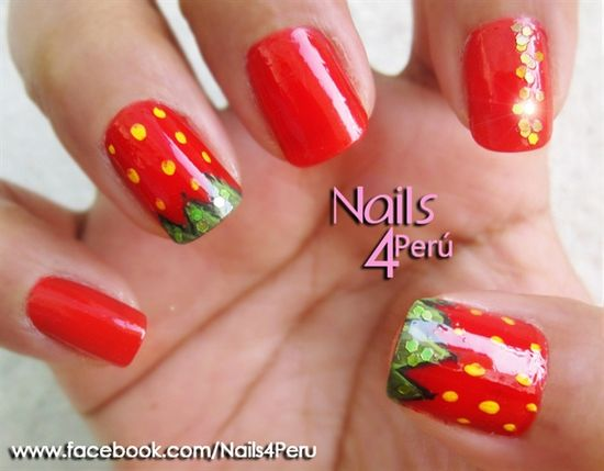 Strawberry Nails by vane2190 - Nail Art Gallery nailartgallery.na... by Nails Magazine www.nailsmag.com #nailart