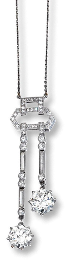 DIAMOND NECKLACE,  1920S.  Of negligé design, the central geometrical motif millegrain-set with single-cut diamonds, suspending two lines of circular-cut and baguette stones terminating in two circular-cut diamonds weighing 3.38 and 3.21 carats respectively, on a fine chain,  length 410mm, case.