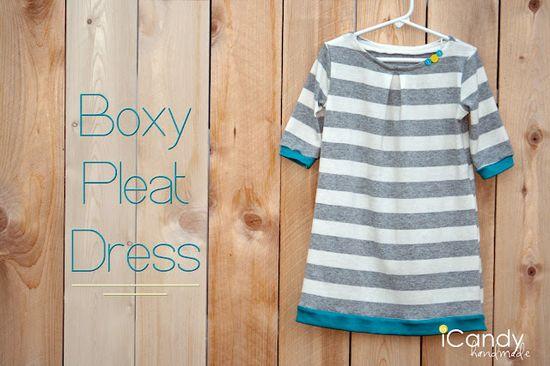 box pleat knit dress - free pattern in size 5