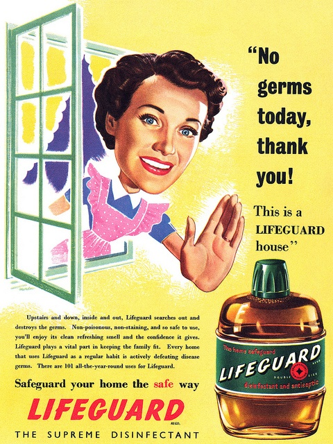 Say no (with your giant) hand to germs with the help of Lifeguard Disinfectant! #vintage #1950s #ad #homemaker