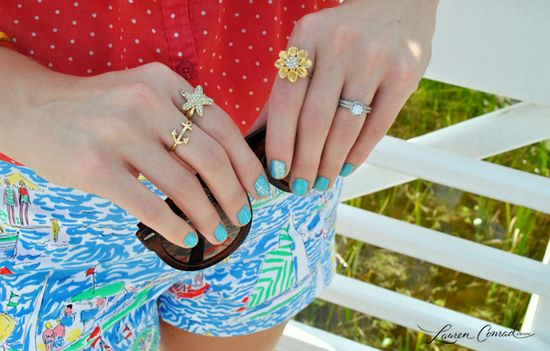 colorful nails & pretty rings {it's all in the details}