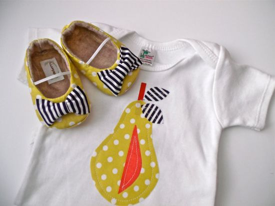 PEAR Girl Shoe / Onepiece Outfit - Yellow polka dot on Etsy, $36.95