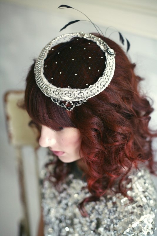 Vintage Rhinestone Encrusted Mini Hat No.1, Rhinestone Embellished Hat, Black Veiling