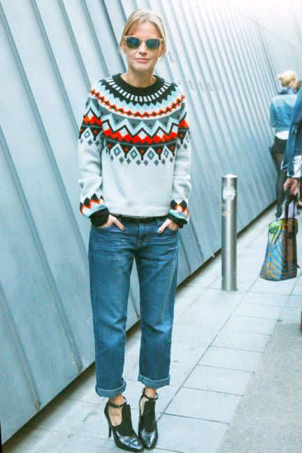 scandinavian sweaters and baggy jeans