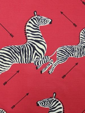 Scalamandre Fabrics Zebras-Masai Red $132.50 price per yard #interiors #decor #animalprints