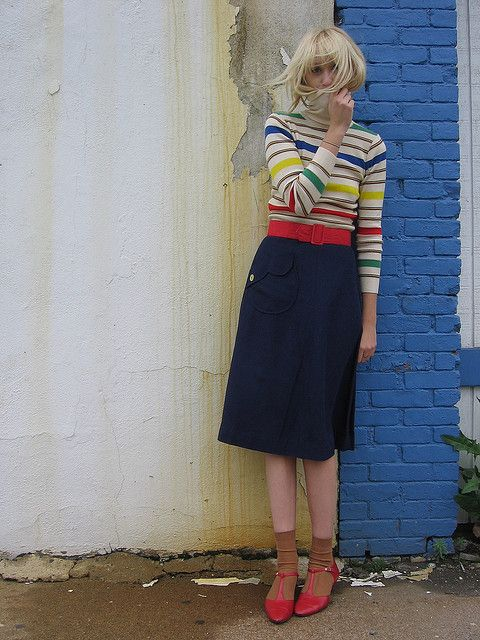 midi skirt & striped shirt