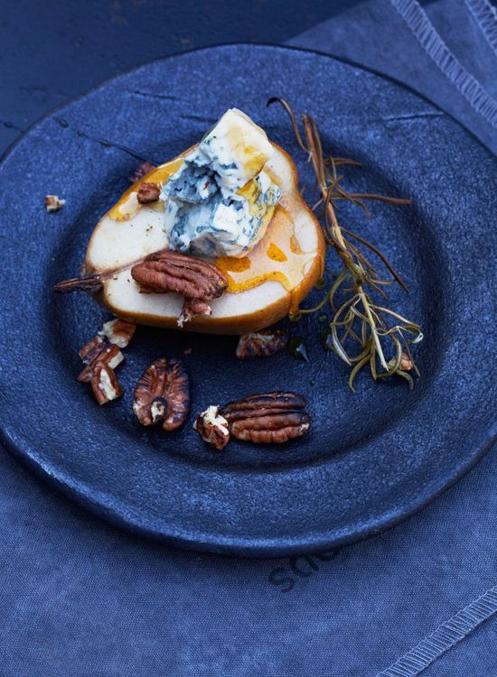 Smoked Pears with Blue Cheese, Maple Syrup and Pecans