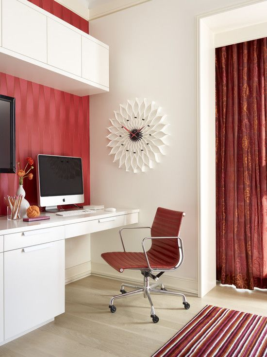 houzz.com Home Office Design, Pictures, Remodel, Decor and Ideas.... This is a clever use of the wall