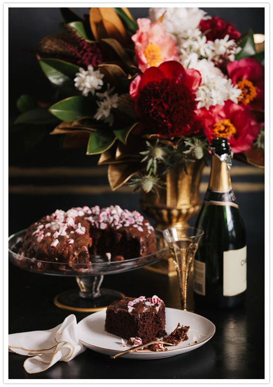 Chocolate peppermint cake and champagne