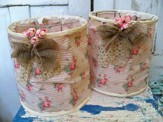 Idea for a  shabby chic tattered lampshade