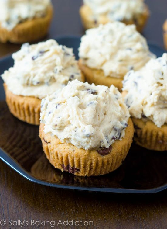 Chocolate Chip Cookie Dough Cupcakes. Soft chocolate chip cookie cups loaded with cookie dough frosting! If you like chocolate chip cookies, these are for you!!