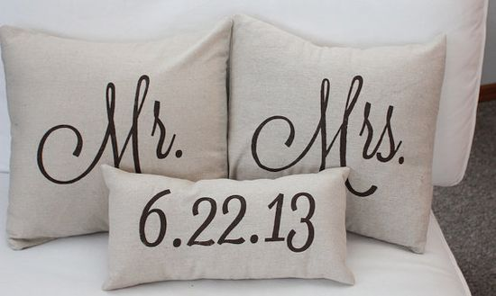 Yay the date :) Mr & Mrs Custom Pillow with Wedding Date by SoVintageChic on Etsy, $55.00  So cute