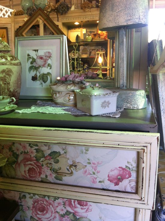 Wallpapered Floral Dresser - DIY Decor Idea only