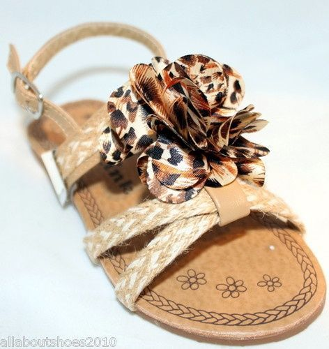 Kids Slingback Flats Sandals Camel Leopard Floral Woven Hemp Girls Fashion Shoes $16.95 @