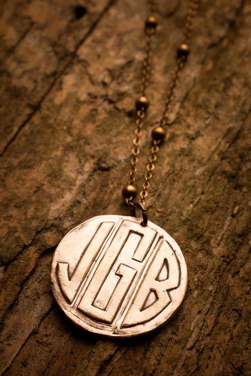 Bronze Monogram Necklace for BourbonandBoots.com