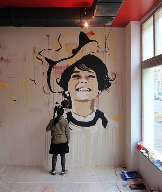 Great wall art! Beautiful Stencil Graffiti by Andrea Michaelsson