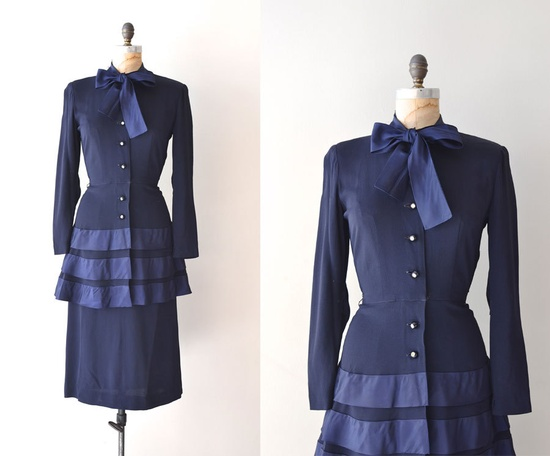 r e s e r v e d...vintage 40s dress / rayon 1940s dress / New World dress. $46.00, via Etsy.