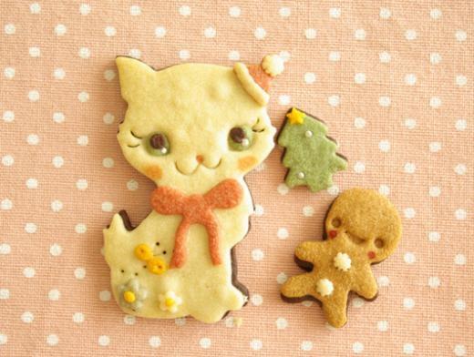 kitty cat santa w/ gingerman cookie